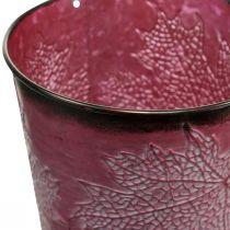 Vaso decorativo per piantare, secchio in metallo, decorazione in metallo con motivo a foglie rosso vino Ø14cm H12.5cm