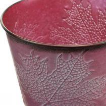 Portavasi con decorazione a foglia, decorazione autunnale, fioriera in metallo rosso vino Ø16.5cm H14.5cm