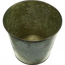 Secchio decorativo con decorazione a foglia, vaso autunnale, decorazione in metallo verde Ø17cm H14.5cm