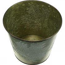 Portavasi con decorazione autunnale, decorazione in metallo, fioriera autunnale verde Ø18.5cm H17cm