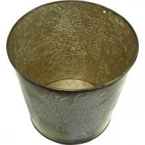 Fioriera per l'autunno, secchio in metallo con decorazione a foglia, vaso in metallo dorato Ø14cm H12.5cm