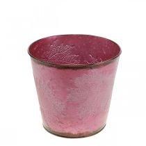 Fioriera, secchio in metallo con foglie, decorazione autunnale rosso vino, Ø18cm H17cm