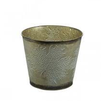 Secchio per piante con decorazione a foglia, vaso in metallo, autunno dorato Ø18cm H17cm