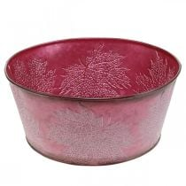Vaso per fioriera per l'autunno, vaso in metallo con decorazione a foglia, vaso decorativo rosso vino Ø25cm H11cm