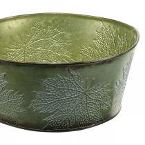 Vaso per fioriera con foglie d'acero, decorazione autunnale, vaso in metallo verde Ø25cm H11cm