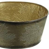 Ciotola autunnale, vaso in metallo con decorazione a foglia, vaso per piante dorato Ø25cm H10cm