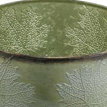 Fioriera, vaso in metallo con foglie d'acero, decorazione autunnale verde Ø25.5cm H22cm