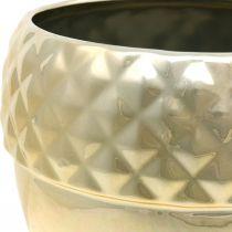 Fioriera in ceramica ghianda dorata decorazione natalizia Ø18cm H16.5cm