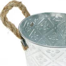 Portavaso con motivo floreale, vaso in metallo, fioriera con manici Ø12cm