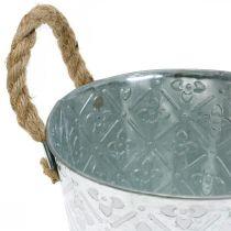 Fioriera in metallo, fioriera con motivo floreale, ciotola decorativa in argento Ø16,5 cm