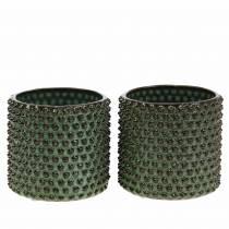 Vaso decorativo fioriera verde, marrone Ø10cm H10cm set di 2