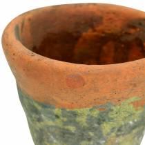 Vaso per fioriera vintage in argilla naturale Ø14,5 cm H12 cm 2 pezzi