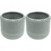 Fioriera con motivo intrecciato, fioriera in ceramica, vaso in ceramica Ø16cm 2 pezzi