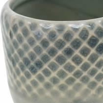Mini fioriera, lanterna in ceramica, portavaso, decoro in ceramica con motivo a cesto Ø8,5cm 6 pezzi