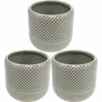 Fioriera in ceramica, vaso con motivo intrecciato, vaso in ceramica Ø13cm 3 pezzi