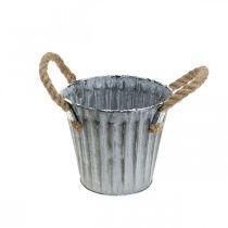 Portavaso con manici, vaso in metallo, fioriera effetto antico Ø12cm