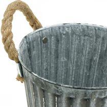 Vaso in metallo per piantare, fioriera, ciotola fioriera con manici Ø18cm