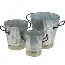 Cachepot in metallo con manici decoro vintage Ø26 / 20 / 17cm set di 3