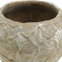 Vaso da fiori in cemento con motivo a fiori piccoli look vintage Ø15cm H11cm