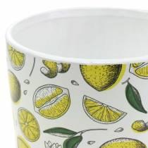 Fioriera giallo limone Ø8 / 10 / 13cm, set di 3
