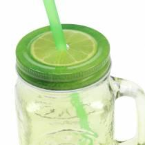 Bicchiere con coperchio e cannuccia assortiti Ø7cm H13.5cm 2 pezzi