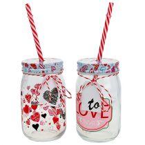 Bicchiere con coperchio e cannuccia H13,5cm 2 pezzi