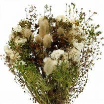 Bouquet di fiori secchi con erbe di prato bianchi, verdi, marroni 125g di fiori secchi