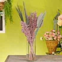 Set di bouquet di fiori secchi esotici bianco-rosa mix essiccazione