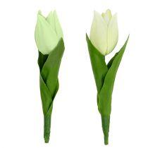 Decorazione primaverile, tulipani artificiali, fiori di seta, tulipani decorativi verde / crema 12 pezzi