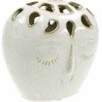 Vaso in ceramica con crema per il viso, aspetto gres beige H13cm 1p