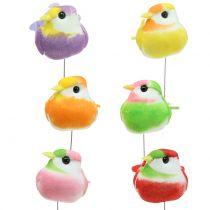 Uccelli sul filo colorato 8 cm 12 pezzi