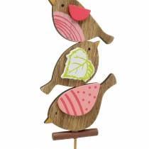 Uccelli decorativi primaverili con stecca in legno assortiti H10,5cm 12 pezzi