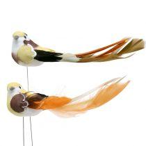 Uccello sul filo marrone / arancione 14 cm 12 pezzi