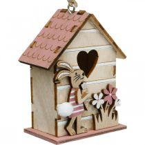 Casetta per uccelli da appendere, primavera, casetta per uccelli decorativa con coniglietto, decorazione pasquale 4 pezzi