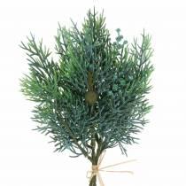 Ginepro ramo decorativo con coni verde, blu lavato 25 cm 2 pezzi