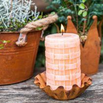 Candele rustiche, modello cesto di candele a colonna, candele di cera arancione 110/65 2pz