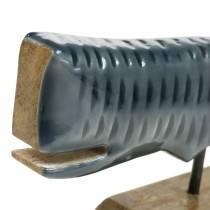 Balena decorativa in legno con base grigia, 26 cm naturale
