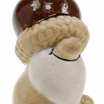 Set statuine in ceramica gnomi della foresta frutti autunnali 6-6,3 cm marrone / giallo 3 pezzi