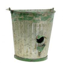 Casetta per uccelli decorativa da appendere verde antico H26cm