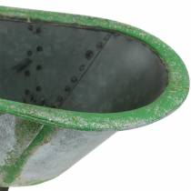Vaso decorativo in metallo usato argento, verde 44,5 cm x 18,5 cm x 15,3 cm