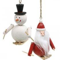 Decorazioni per alberi di Natale in legno Babbo Natale e pupazzo di neve 11cm 2 pezzi
