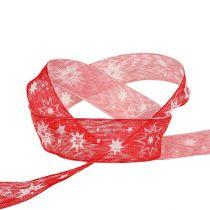 Nastro natalizio rosso con motivo a stella 25mm 20m