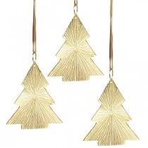 Albero di Natale in metallo dorato 8x10cm da appendere 3pz.