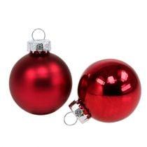 Palla di Natale Ø4cm rosso lucido / opaco 24 pezzi