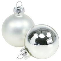 Palla di Natale in vetro Ø6cm mix argento 24 pezzi