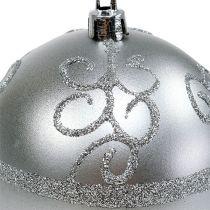 Palla di natale argento Ø8cm plastica 1pz