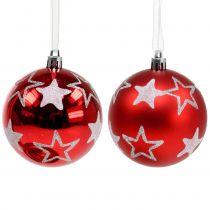 Palle di Natale con stelle in rosso 2 pezzi Ø8 cm