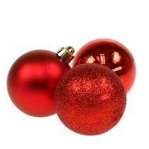Palla di natale in plastica rossa 6 cm 10 pezzi