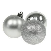 Palline di Natale in plastica argento 6cm 10 pezzi