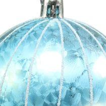 Palla di natale in plastica blu-turchese Ø8cm 2 pezzi